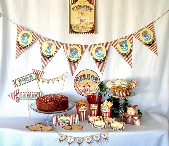 Vintage Circus Carnival Printable Party Kit Instant Download