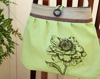 Canvas Flower Pleated Purse~ one strap brown faux leather, Screen print in brown~spring green canvas, linen band~Ready to ship~