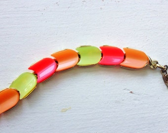 Vintage Neon Pink, Orange, Lemon, and Lime Chevron Link Thermoset Necklace by Lisner