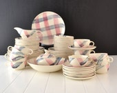 Vintage Dinnerware Set - Scots Clan Pattern- Pink and Charcoal Plaid - Stetson -Set of 69