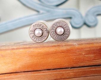 Bullet Earrings- Faux Pearl-June Birthstone