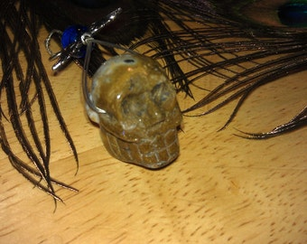 Crystal Skull, Ocean Jasper, White Brain, Wire Wrap Bail With Silver Wings And Blue Crystal bead. Destash, Jewlery Beading Supplies,