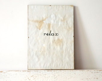Vintage look Wall Decor, Poster, Sign - RELAX