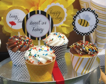 Buzz Buzz Party Cupcake Wrappers - Birthday Party - DIY Bumble Bee Printable Party