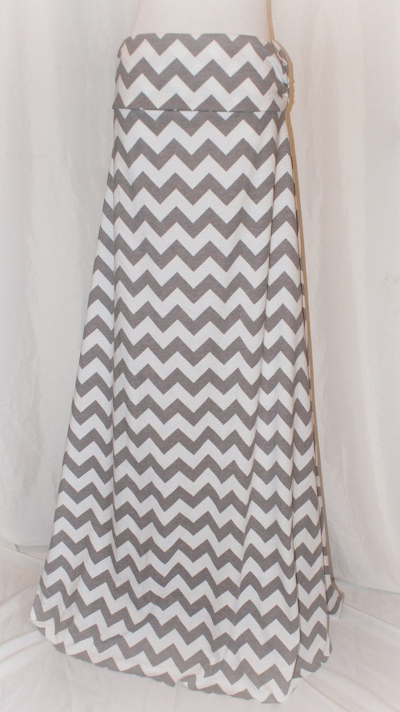 s gray grey and white chevron maxi skirt by