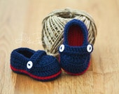 AHOY baby boys booties crocheted slippers perfect shower gift