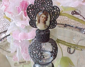 Beautiful Antique Filigree Over Glass Perfume Bottle with Hand Painted Portrait Top