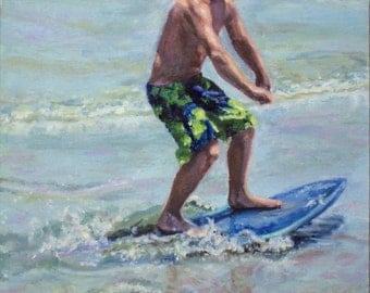 "Original Oil Painting: boy enjoying his skimboard at the beach ""Skim On"""