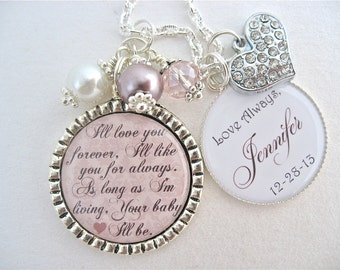 MOTHER of the Bride Gift Mother of the Groom I'll Love you forever quote Pink Champagne THANK YOU Gift necklace Beach Jewelry Sand Wedding