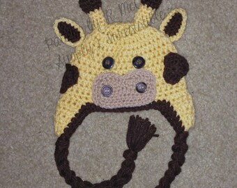 Giraffe Hat - Crochet Pattern 30 - us or uk Terms - Beanie and Earflap Pattern - Newborn to Adult - INSTANT DOWNLOAD