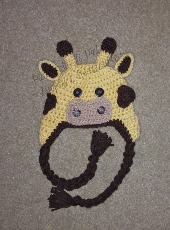 Crochet Hat Pattern Baby Giraffe Beanie Hat : Giraffe Hat Crochet Pattern 30 us or uk Terms Beanie and