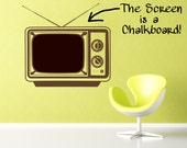Television with Chalkboard wall decal- Large Size