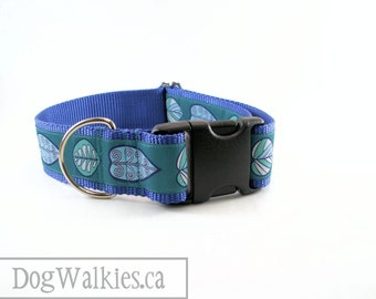 """Teal Arrow head Leaves Wide Dog Collar // 1.5"""" (38mm) Wide Martingale or Quick Release // Choice of collar style and size"""