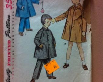 1960's Simplicity Pattern # 4455 Boys Coat, Hat and Leggings