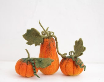 Set of Three needle felted pumpkins, Halloween Thanksgiving home decor, rustic decorations.
