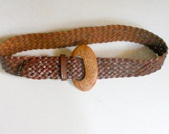 Vintage Wide Brown Belt Braided Belt Woven Brown Leather Wooden Buckle Brown Hippie Hipster Boho