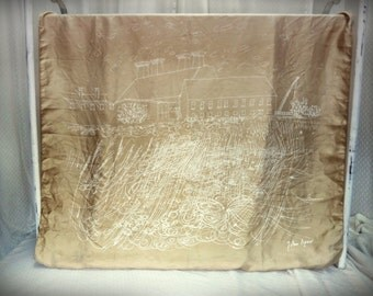 RARE Vintage designer John Piper golden tan ivory white pictorial Snape Maltings complex landscape silk scarf