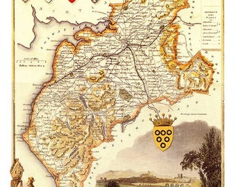 Cumberland 1840 - Antique map of the County of Cumberland, England by Thomas Moule - MAP PRINT