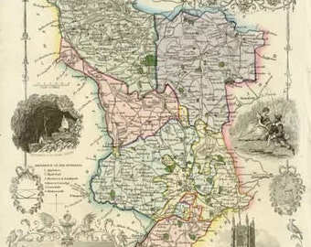 Derbyshire 1837 - Antique map of the County of Derbyshire by Thomas Moule - MAP PRINT