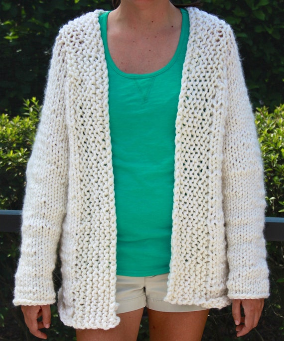 Knitting Pattern Weekend Cardigan : Hand Knit Ivory Bulky Weekend Cardigan Sweater Jacket by bpenatzer