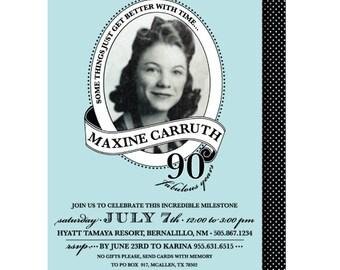 Adult Milestone Birthday Photo Invitations, 90th Birthday Invitation, 80th Birthday, 95th Invite, 85th, 75th