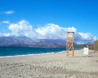 Beach life guard tower photo print, greece, peloponnese, summer home wall decor