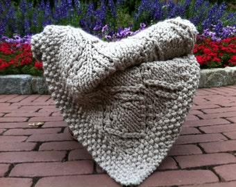Knit Blanket / Knitted Afghan / Large Throw