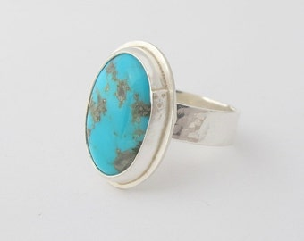 Turquoise Ring, Sterling Silver Ring, Gemstone Ring, Handmade, Size 7.25