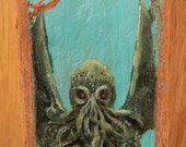 Cthulhu acrylic painting on driftwood OOAK