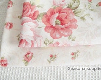"Pink Rose Fabric, Pink Floral Fabric, Rose Cotton, Japanese Fabric, Rose Cotton Fabric- 1/2 yard 18""X63"" (QT303)"