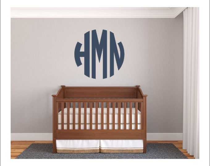 Circle Monogram Decal Round Circle Block Monogram Large Vinyl Wall Decal Preppy Southern Personalized Everything Else
