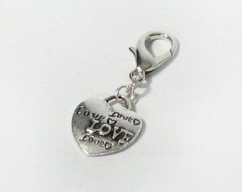 Silver Love Heart Pet Charm, Perfect Valentine Gift for Pet, Keychain, Zipper Pull
