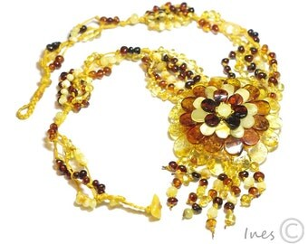 Exclusive Baltic Amber Flower Necklace