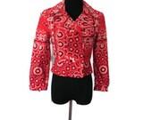 1950s-1960s Red Bandana Print Saks Fifth Avenue Motorcycle Jacket