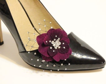 Shoes clips - purple plum  flower with Swarovski crystal