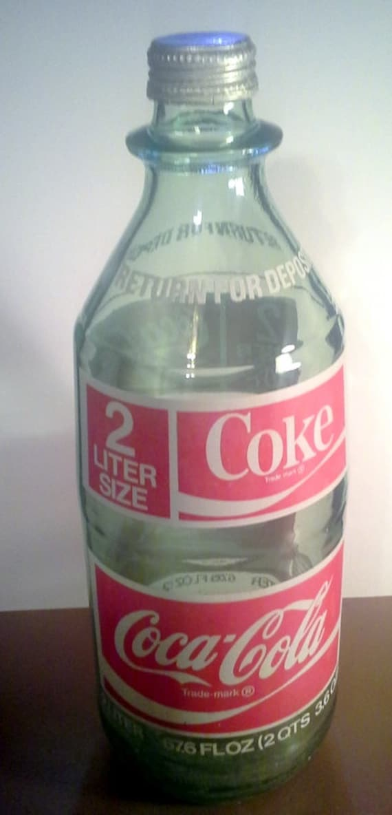 items similar to vintage glass coke bottle 2 liter coke bottle on etsy. Black Bedroom Furniture Sets. Home Design Ideas