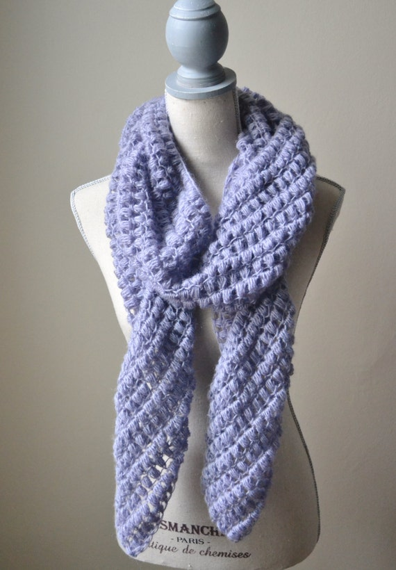 Items similar to Purple Crochet Bobble Scarf - Ready To ...