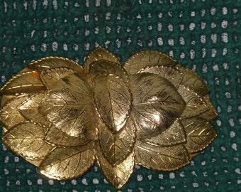 Large Gold Tone Belt Buckle Leaf Cluster Vintage