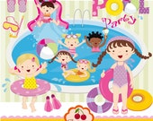 Pool Party Swim Girls Digital Clipart Set -Personal and Commercial Use-paper crafts,card making,scrapbooking,web design