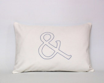 Ampersand pillow case - typography - white & royal blue - hand embroidered