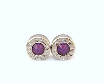Bullet Earrings . 38 Super Nickel Plated Brass . Cyclamen Opal