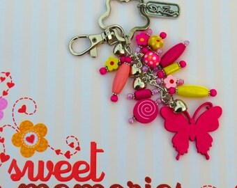 Pink, Yellow  Wooden Beaded Purse Clip.