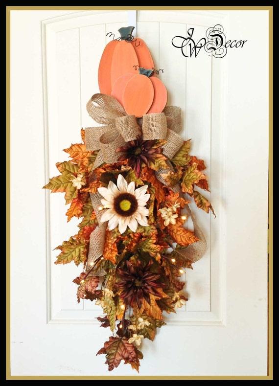 Fall Wreath With Lights Teardrop Swag Front Door Hanger Wood
