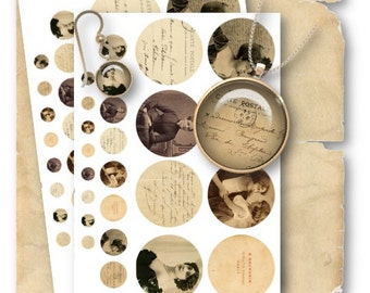 Digital Collage Sheet Download - Old Photos 1/2, 1 & 2.5 inch Circles -  748   for Jewelry Pendants - Instant Download Printables