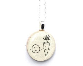 personalized friend gift Best friends pea and carrot necklace wood friendship gift Best friend gift best friend jewelry graduation gift