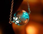 "Dandelion seeds in Hand blown Glass Bubble ""GLOW in the DARK"""