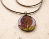 Real leaf pendant - brown rustic woodland necklace - Pyrus ussuriensis