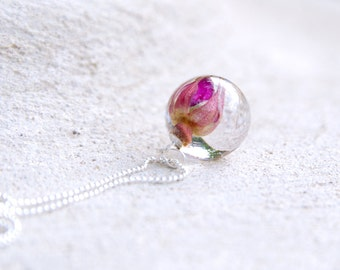Rose flower necklace - real rose jewelry pendant - sterling silver 925 chain - Wild Rosa