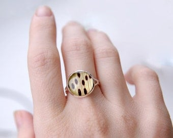 Yellow Lily flower petals ring - jewelry for gardeners and nature lovers - cute ring with lily petals - Lilium lancifolium