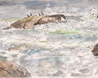 Ocean stormy seascape, landscape fine art print 8x10 Little Compton Rhode Island Blue Green Waves New England Artwork Perfect Storm Comorant